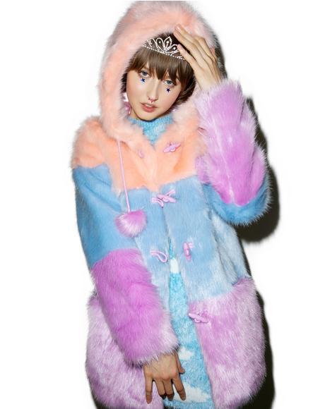 Pastel Faux Fur Coat