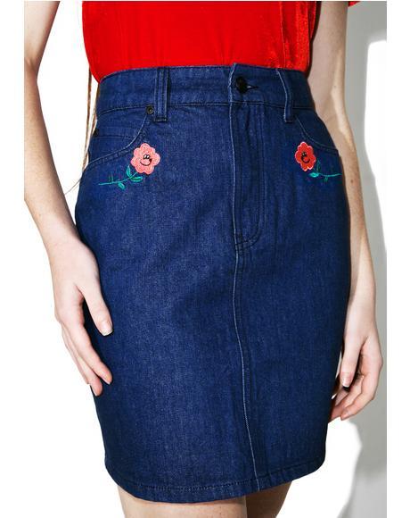 Rose Denim Skirt