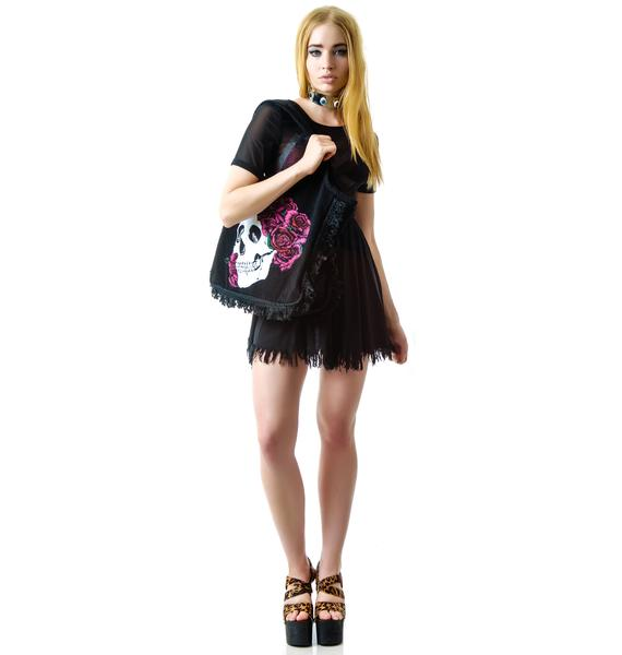 Lauren Moshi Skull Miley Fringe Tote Bag