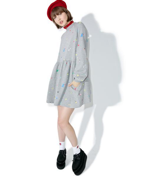 Lazy Oaf Random Icon Sweater Dress