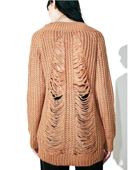 Salted Caramel Shredded Sweater