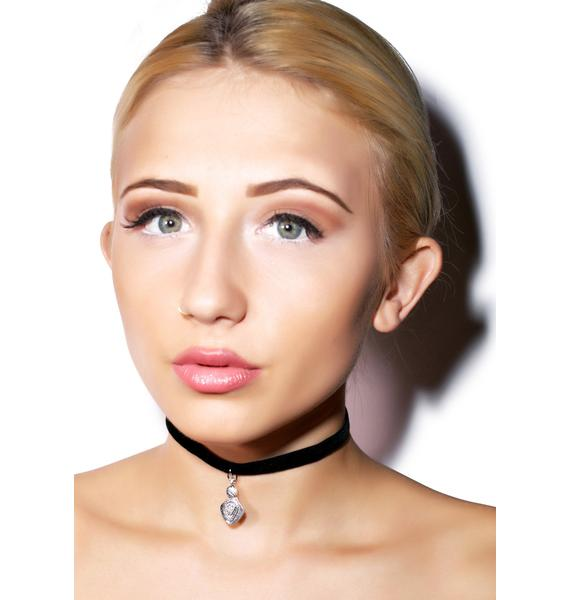 Vanessa Mooney Black Teardrop Charm Velvet Choker