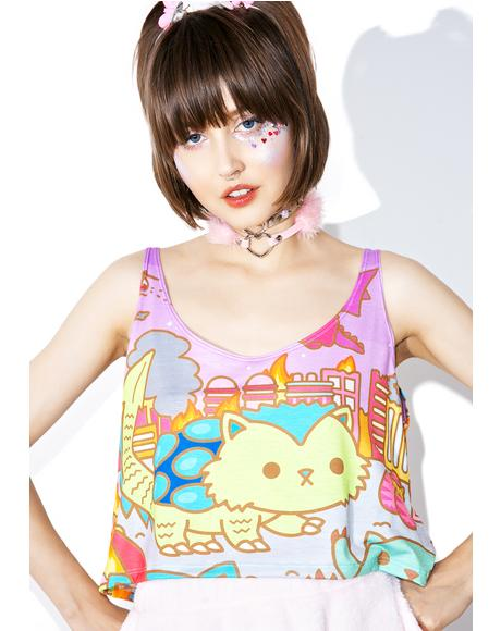 Kaiju Kitty Crop Tank