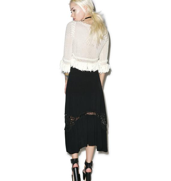 For Love & Lemons Noir Penelope Midi Skirt