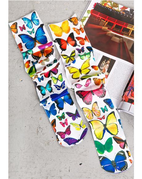 Butterflies Knee High Socks
