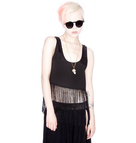 Minkpink Bad Moon Rising Fringe Tank