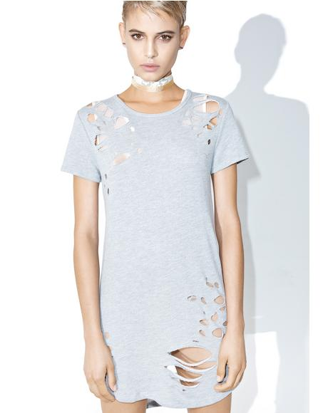 Grey Matter Distressed T-Shirt Dress