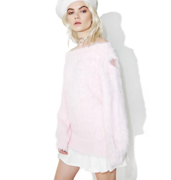 one spo Fluffy Heart Off Shoulder Sweater