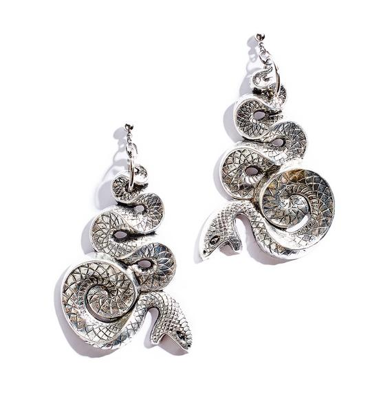 Regal Rose Serpent Earrings