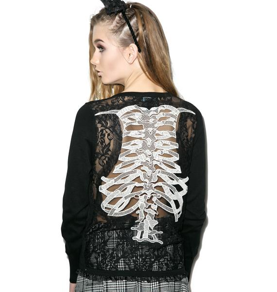 Too Fast Ribcage Embroidered Cardigan