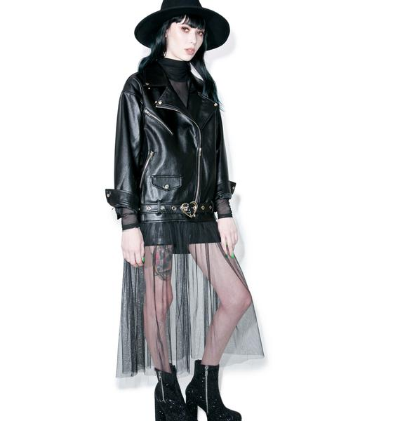 one spo Tulle Moto Jacket