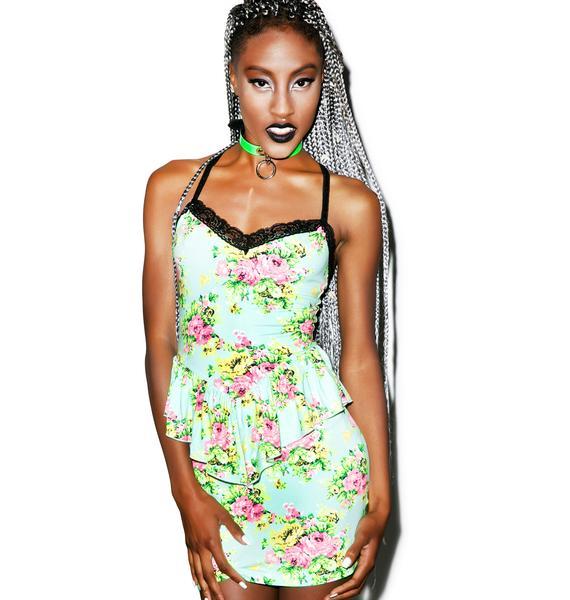 24HRS Floral Print Peplum Dress
