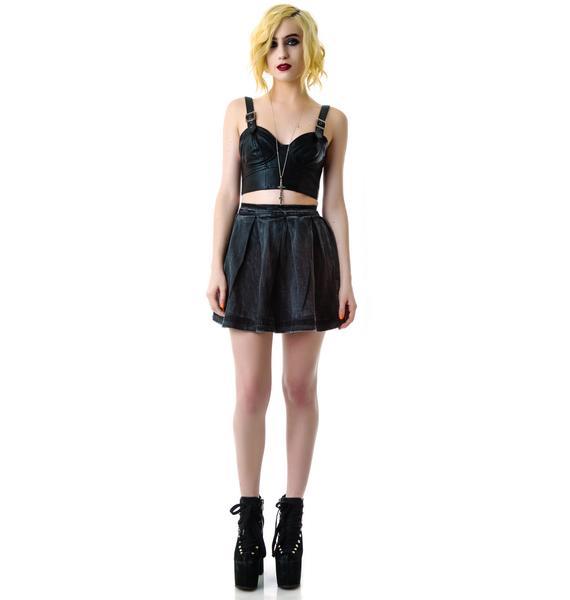 Kill City Black Denim Circle Skirt