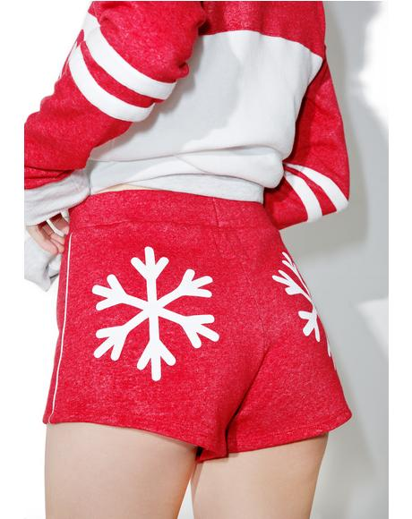 Snowflakes Track Star Shorts
