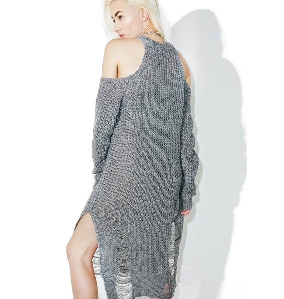 Blast Damage Distressed Knit Dress