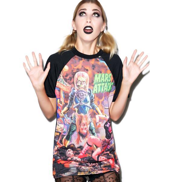 Kreepsville 666 Mars Attacks Sin City Skinner Raglan T Shirt