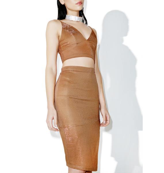 Brown Suga Sparkle Midi Skirt