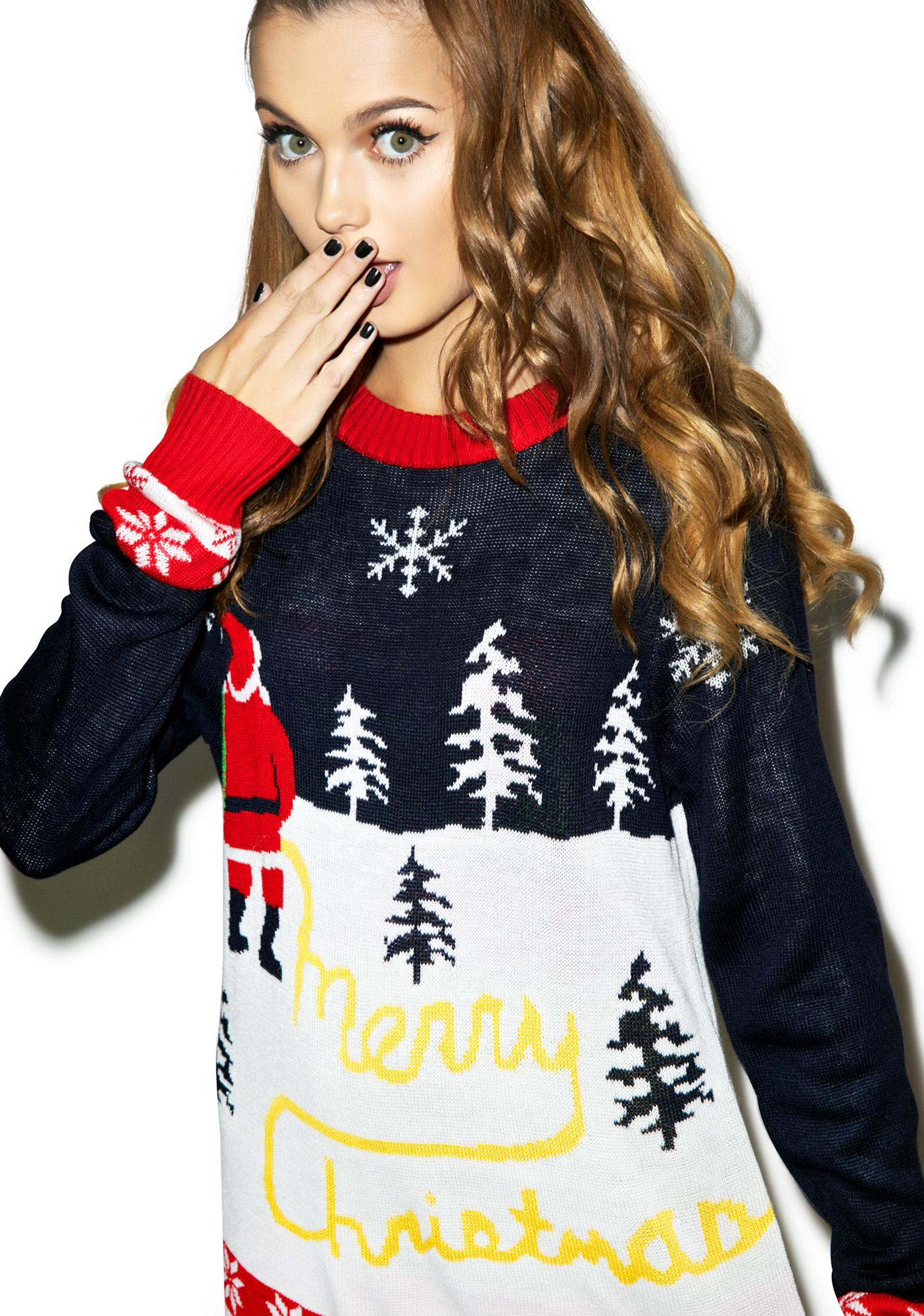 Tipsy Elves Yellow Snow Sweater