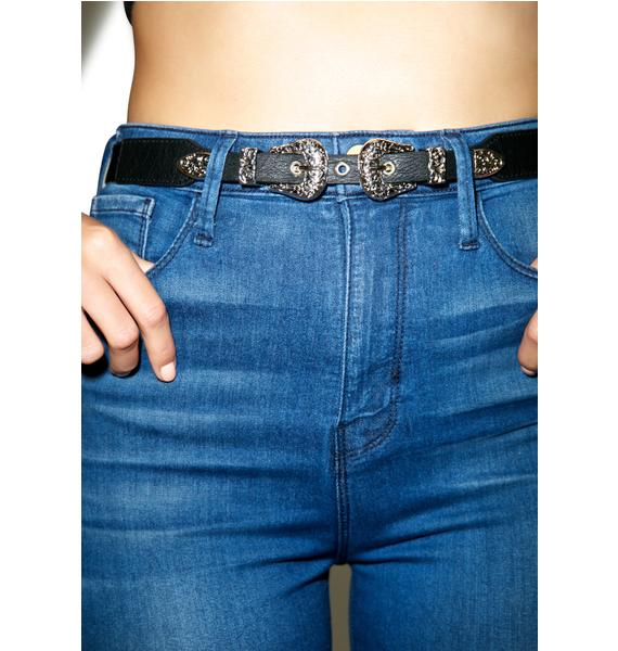 Ornate Territory Double Buckle Belt