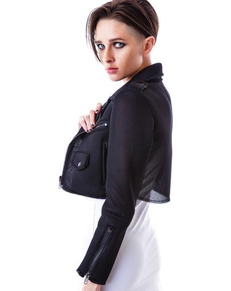 Mesh Neo Crop Moto Jacket