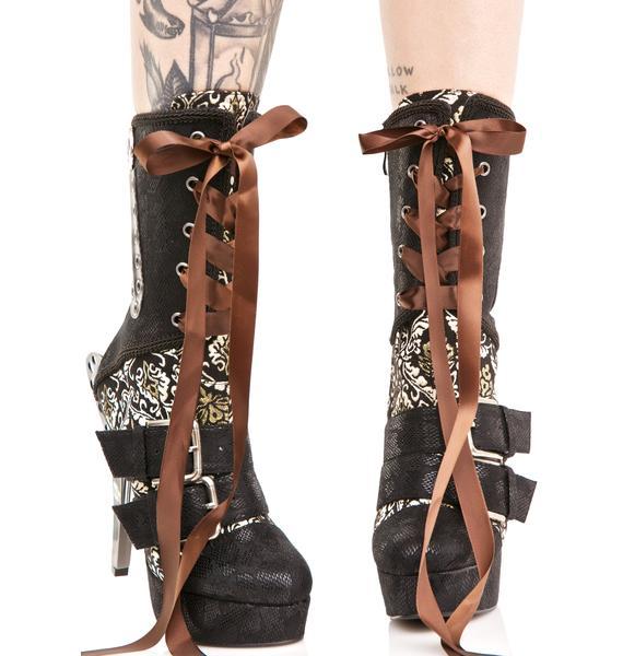 Hades Footwear Lorrein Buckled Stiletto Boots