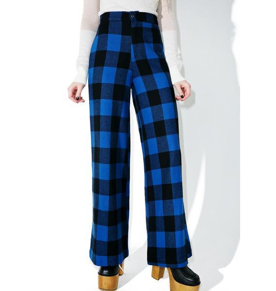 Sugarhigh + Lovestoned Plaid Woody Wide Leg