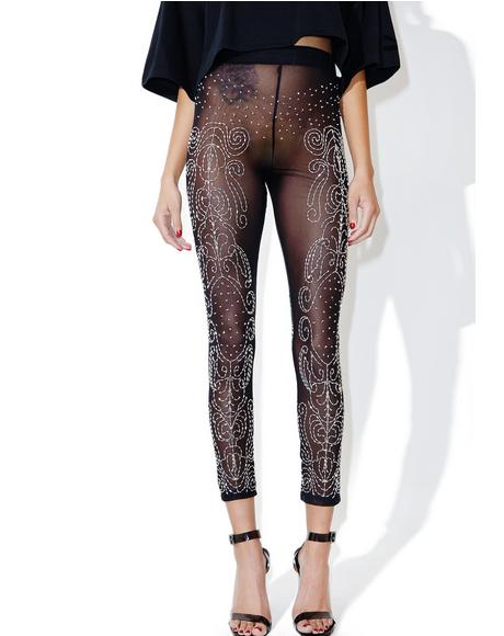 Sequin Mesh Leggings