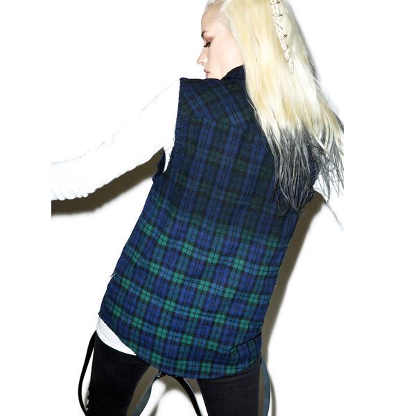 Tripp NYC Dip Dye Sleeveless Flannel
