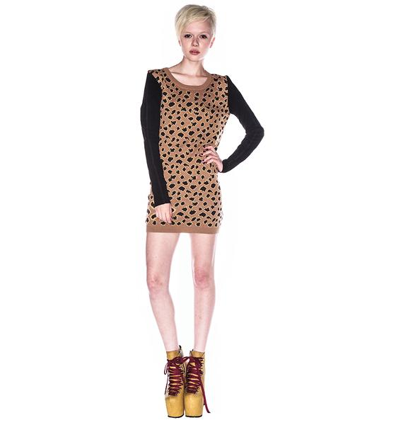 One Teaspoon Tiger Moth & Suede Dress