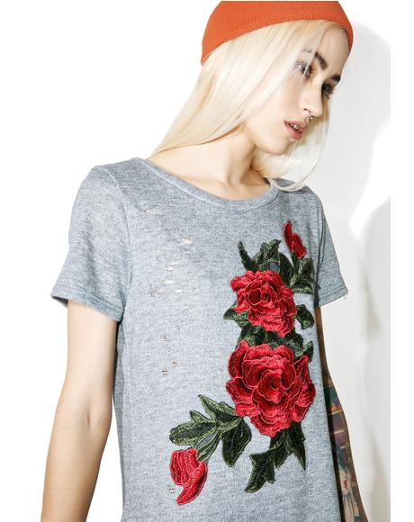 In The Flowers Distressed Dress