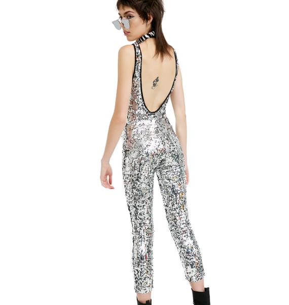 Jaded London Silver Sequin Jumpsuit