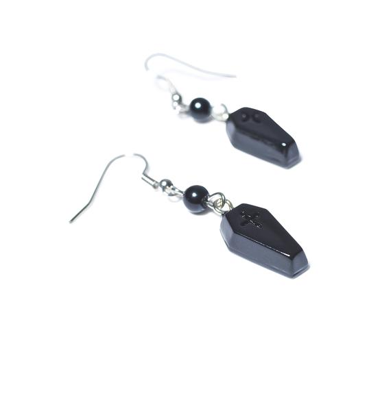 Sourpuss Clothing Coffin Drop Earrings