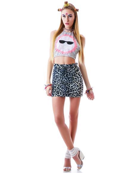Snow Leopard Mini Tube Skirt