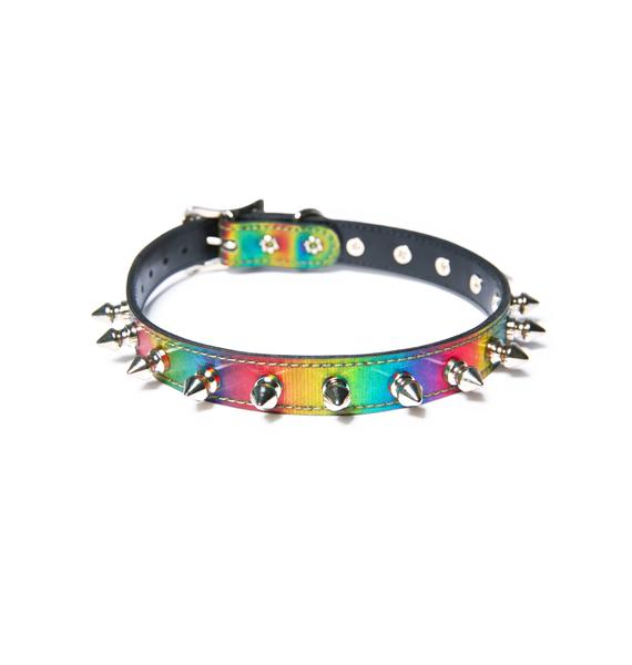 Club Exx Rainbow Spiked Out Choker