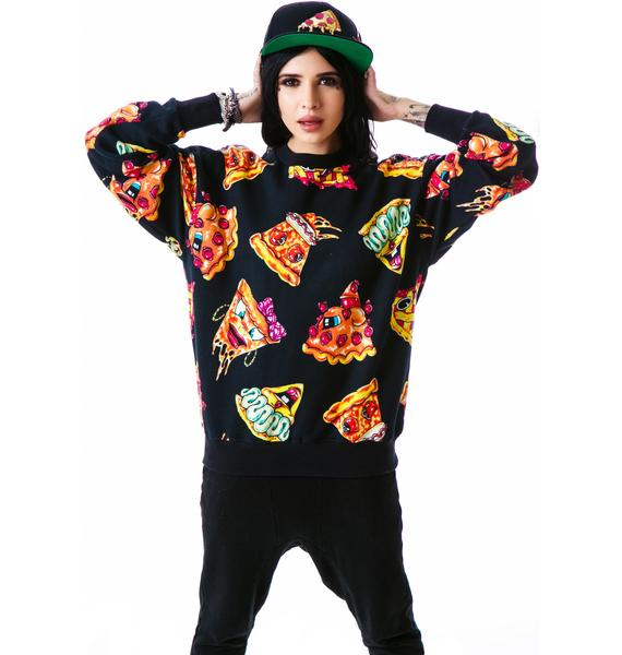 Joyrich Pizza Pie Face Crew Pullover Sweatshirt