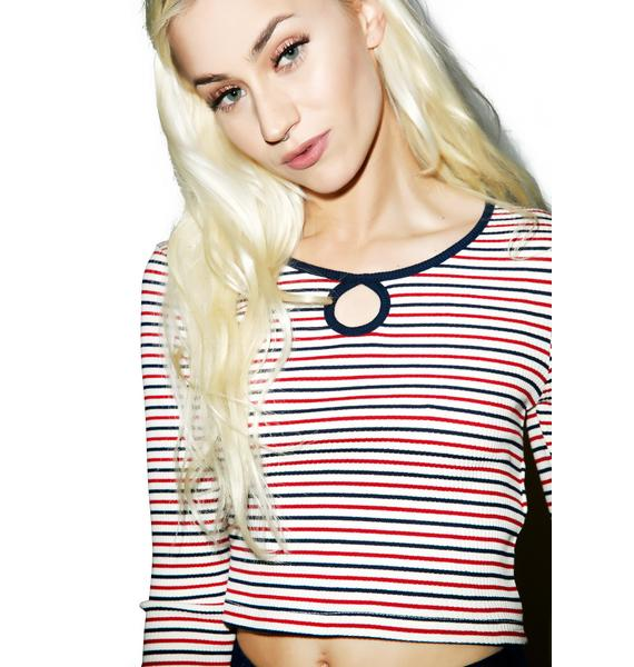 Mink Pink Listen Closely Keyhole Ringer Tee