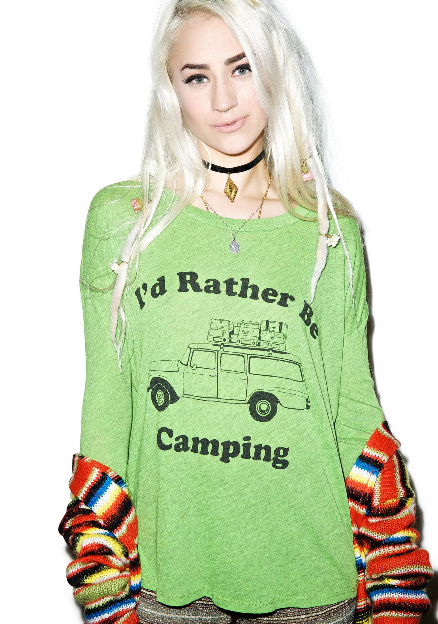 Wildfox Couture Rather Be Camping Runaway Long-Sleeve Tee