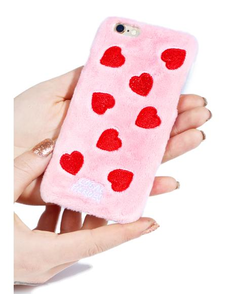 Red Hearts Fuzzy iPhone 6 Case