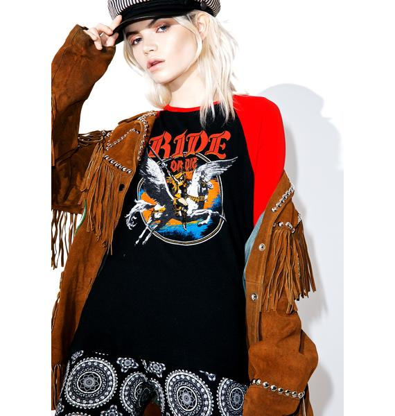 Hazmat Design Ride Or Die 3/4 Raglan Sleeve Shirt
