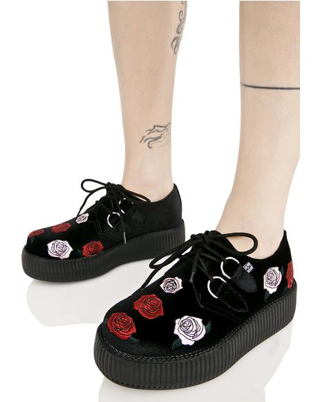Black Velvet Creepers With Roses