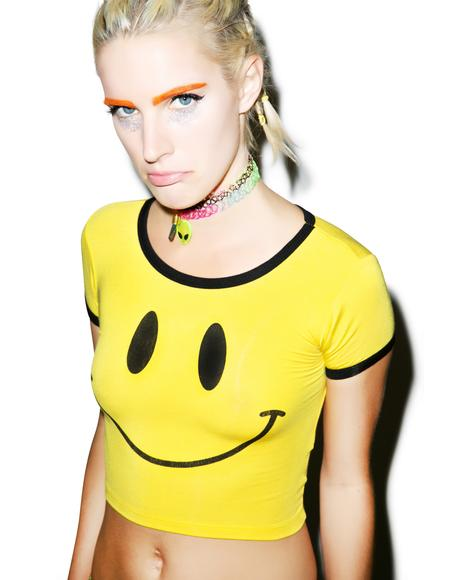Smiley Ringer Crop Tee