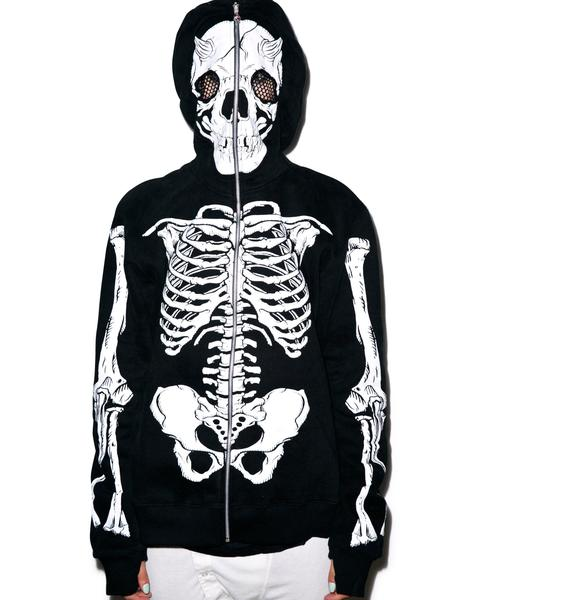 Skellish Thoughts Zip Over Face Hoodie