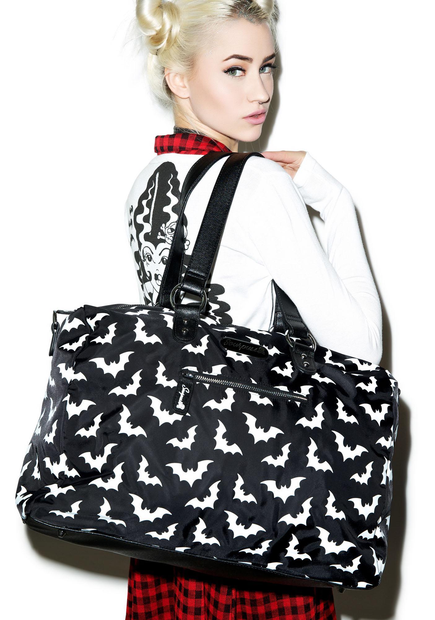 Sourpuss Clothing Spooksville Bats Travel Bag