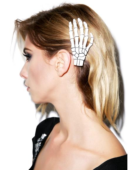 Skeleton Bone Hand Hair Slide