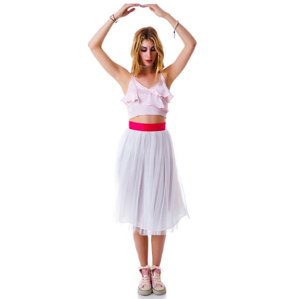 Cierra Air Tulle Midi Skirt