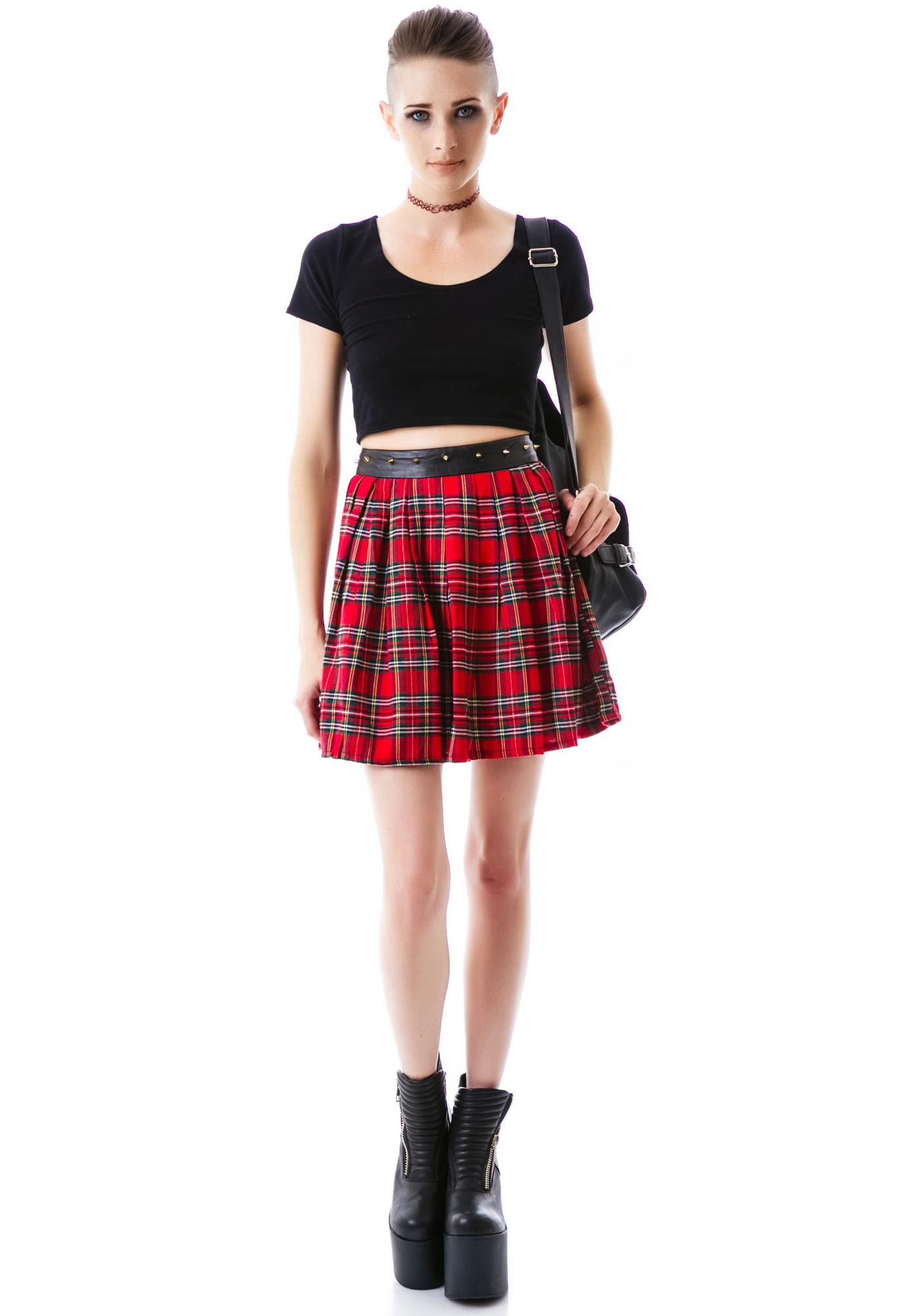 Tai Studded Plaid Skirt