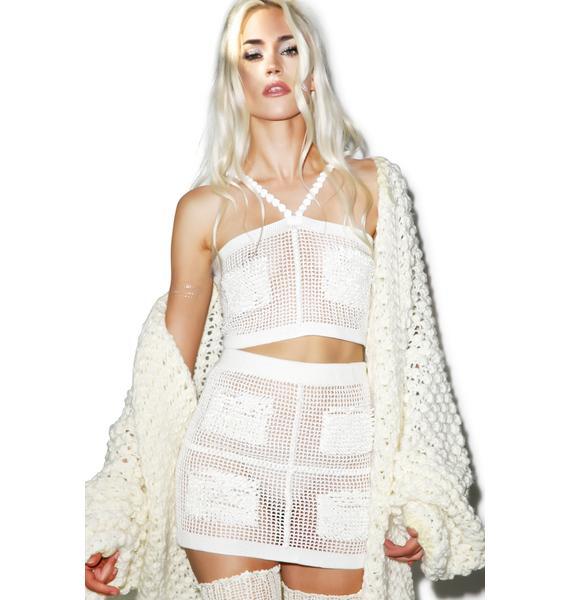 Maria ke Fisherman Textured Crochet Crop Top