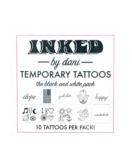 Black And White Temporary Tattoo Pack