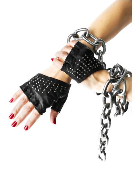 Studded Half Gloves