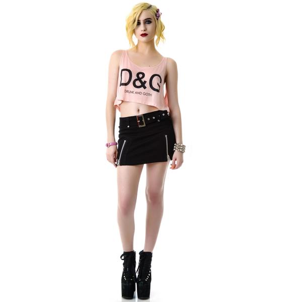 United Couture Drunk and Goth Cropped Tank Top
